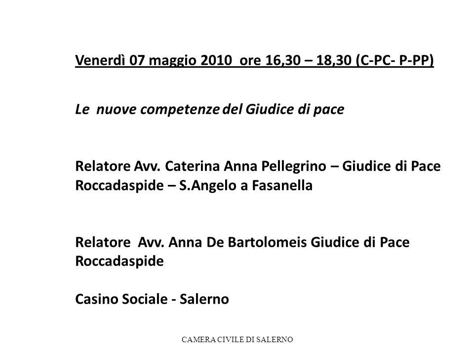 Venerdì 07 maggio 2010 ore 16,30 – 18,30 (C-PC- P-PP) Le nuove competenze del Giudice di pace Relatore Avv. Caterina Anna Pellegrino – Giudice di Pace