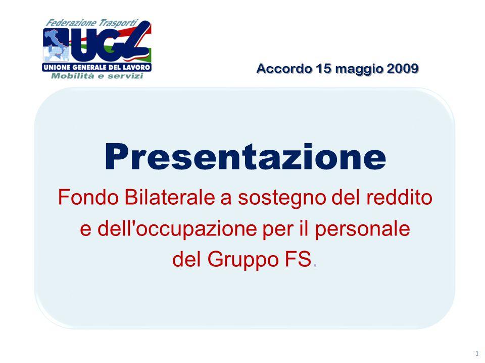 Accordo 15 maggio 2009 Presentazione Fondo Bilaterale a sostegno del reddito e dell'occupazione per il personale del Gruppo FS. 1