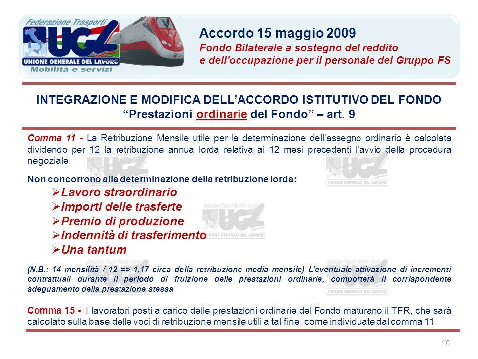 10 Comma 11 - La Retribuzione Mensile utile per la determinazione dell'assegno ordinario è calcolata dividendo per 12 la retribuzione annua lorda rela