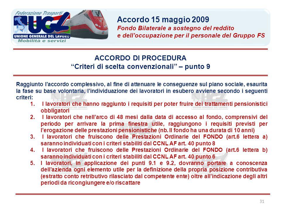 """31 ACCORDO DI PROCEDURA """"Criteri di scelta convenzionali"""" – punto 9 Raggiunto l'accordo complessivo, al fine di attenuare le conseguenze sul piano soc"""