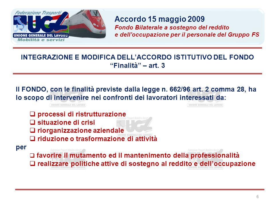 """6 INTEGRAZIONE E MODIFICA DELL'ACCORDO ISTITUTIVO DEL FONDO """"Finalità"""" – art. 3 Il FONDO, con le finalità previste dalla legge n. 662/96 art. 2 comma"""