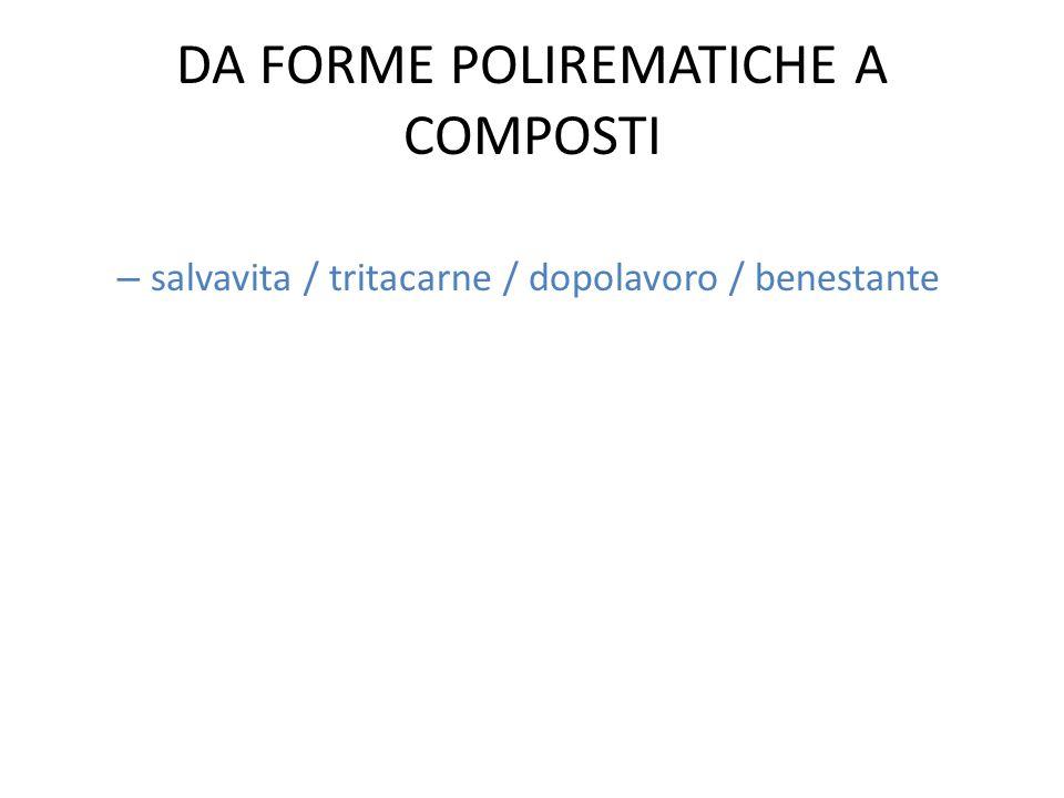 DA FORME POLIREMATICHE A COMPOSTI – salvavita / tritacarne / dopolavoro / benestante