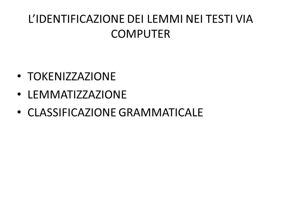 L'IDENTIFICAZIONE DEI LEMMI NEI TESTI VIA COMPUTER • TOKENIZZAZIONE • LEMMATIZZAZIONE • CLASSIFICAZIONE GRAMMATICALE