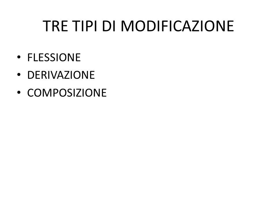 TRE TIPI DI MODIFICAZIONE • FLESSIONE • DERIVAZIONE • COMPOSIZIONE