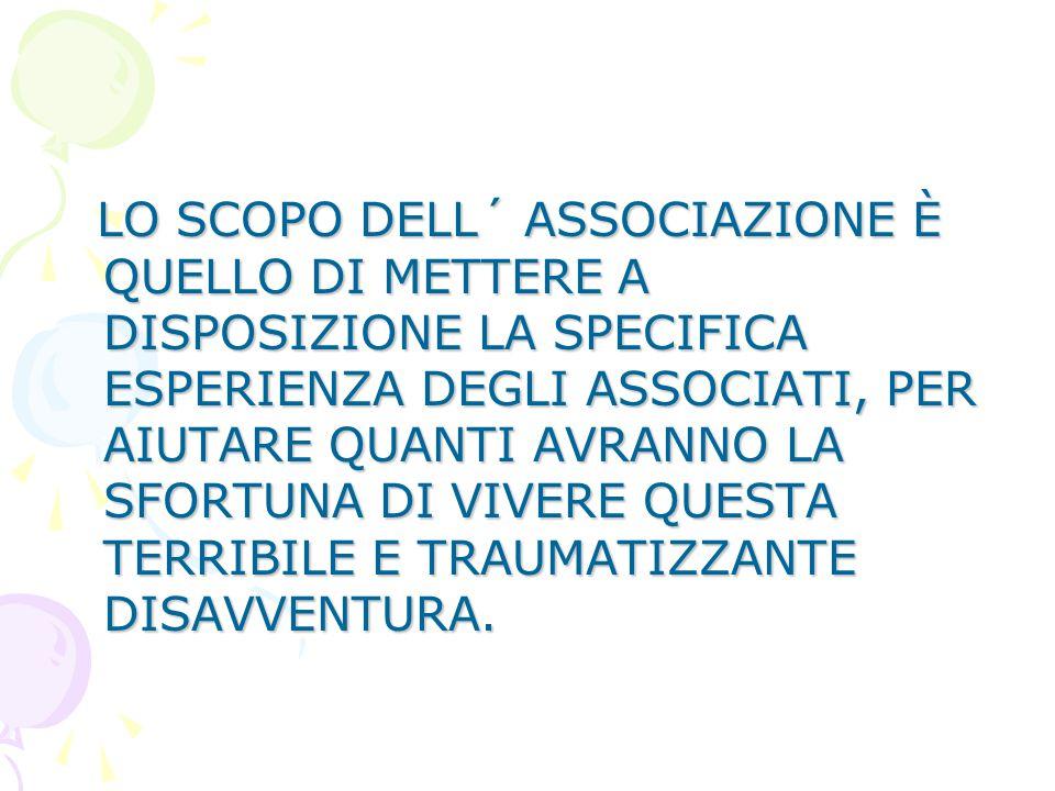 IL GIORNO 6 DICEMBRE 2002 ALCUNI OPERATORI DELL'OSPEDALE S.EUGENIO, INSIEME AD UN GRUPPO DI GENITORI DI PAZIENTI, HANNO FONDATO UNA ASSOCIAZIONE PER L
