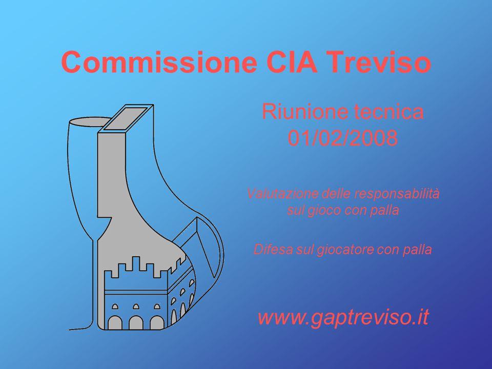 Riunione tecnica 01/02/2008 Valutazione delle responsabilità sul gioco con palla Difesa sul giocatore con palla Commissione CIA Treviso www.gaptreviso