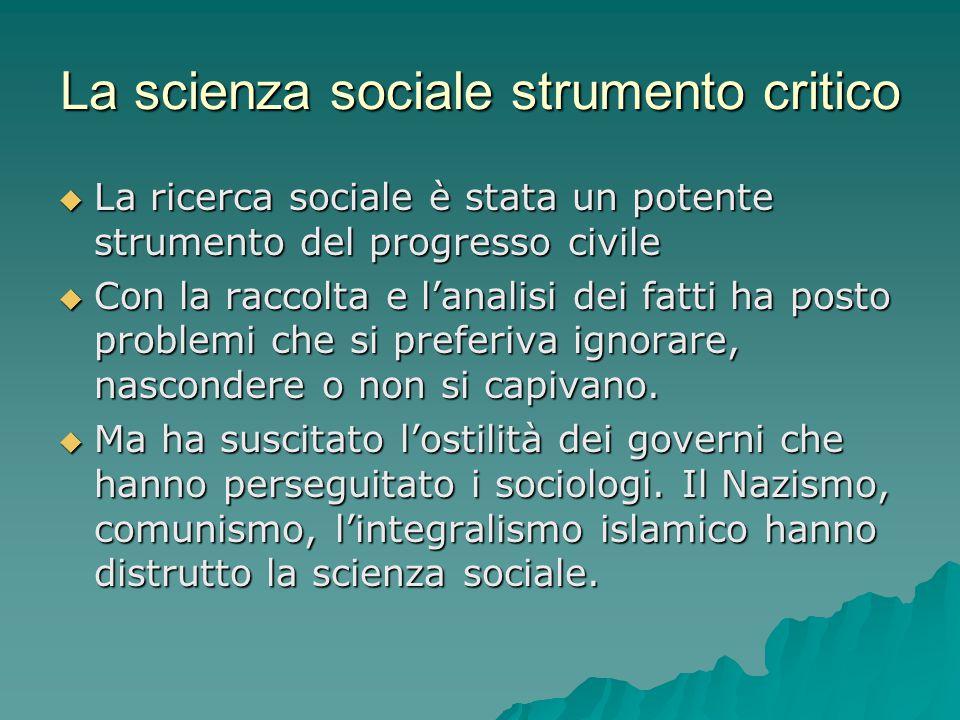 La scienza sociale strumento critico  La ricerca sociale è stata un potente strumento del progresso civile  Con la raccolta e l'analisi dei fatti ha