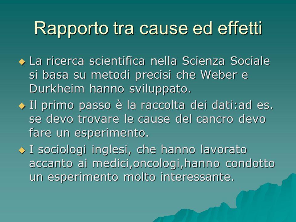 Rapporto tra cause ed effetti  La ricerca scientifica nella Scienza Sociale si basa su metodi precisi che Weber e Durkheim hanno sviluppato.  Il pri