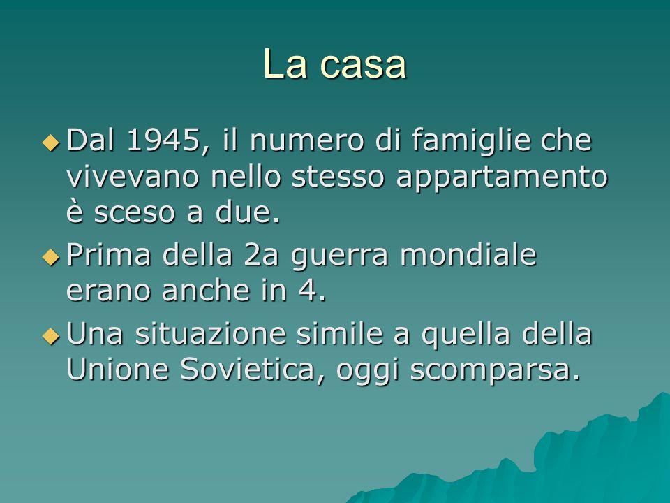 La casa  Dal 1945, il numero di famiglie che vivevano nello stesso appartamento è sceso a due.  Prima della 2a guerra mondiale erano anche in 4.  U