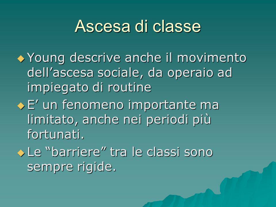 Ascesa di classe  Young descrive anche il movimento dell'ascesa sociale, da operaio ad impiegato di routine  E' un fenomeno importante ma limitato,