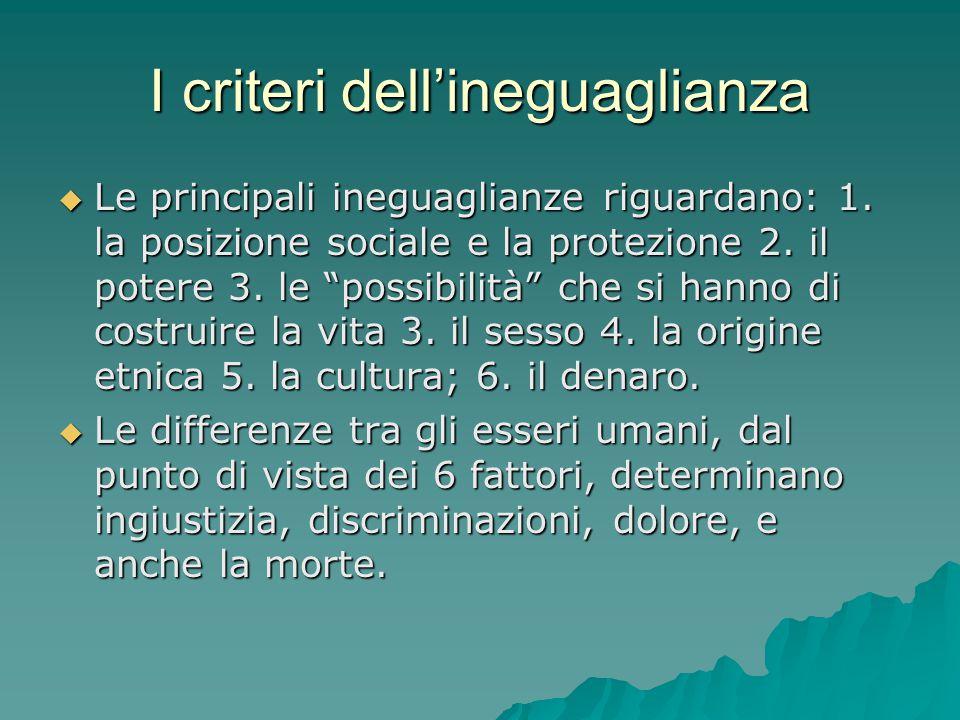 """I criteri dell'ineguaglianza  Le principali ineguaglianze riguardano: 1. la posizione sociale e la protezione 2. il potere 3. le """"possibilità"""" che si"""