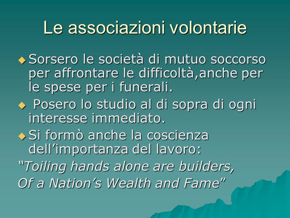 Le associazioni volontarie  Sorsero le società di mutuo soccorso per affrontare le difficoltà,anche per le spese per i funerali.  Posero lo studio a