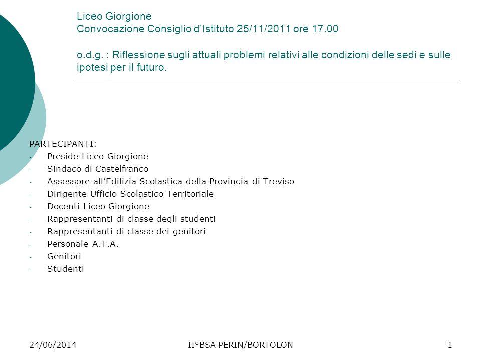 24/06/2014II°BSA PERIN/BORTOLON1 Liceo Giorgione Convocazione Consiglio d'Istituto 25/11/2011 ore 17.00 o.d.g. : Riflessione sugli attuali problemi re