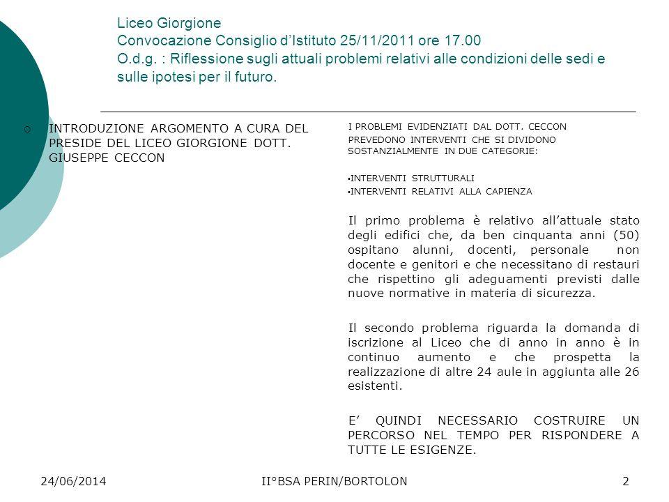 24/06/2014II°BSA PERIN/BORTOLON2 Liceo Giorgione Convocazione Consiglio d'Istituto 25/11/2011 ore 17.00 O.d.g. : Riflessione sugli attuali problemi re