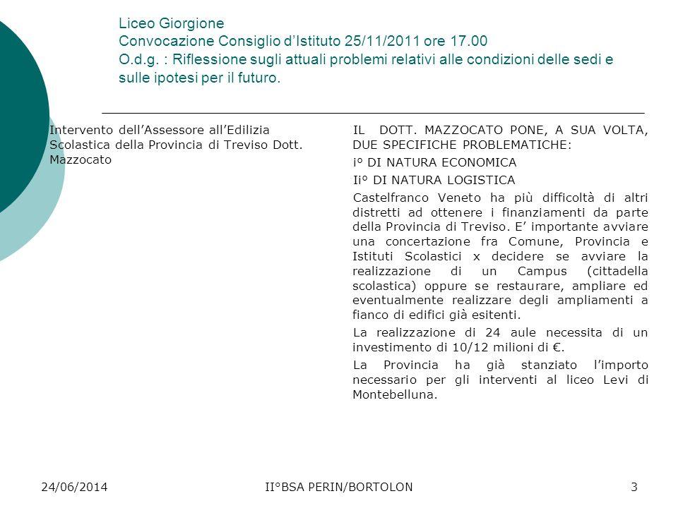 24/06/2014II°BSA PERIN/BORTOLON3 Liceo Giorgione Convocazione Consiglio d'Istituto 25/11/2011 ore 17.00 O.d.g. : Riflessione sugli attuali problemi re