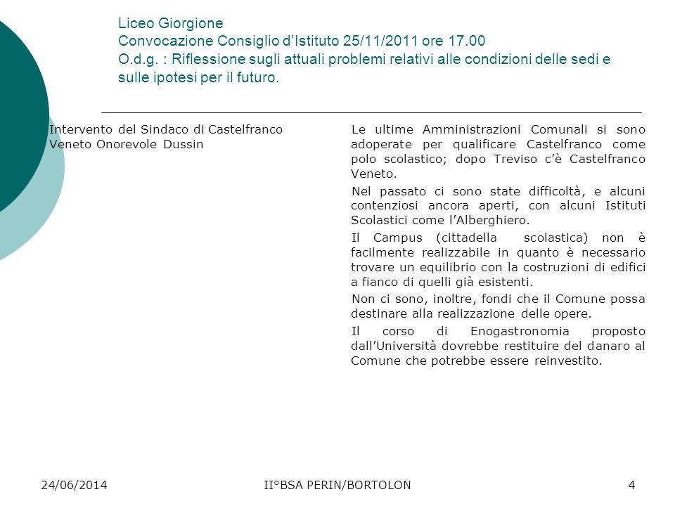 24/06/2014II°BSA PERIN/BORTOLON4 Liceo Giorgione Convocazione Consiglio d'Istituto 25/11/2011 ore 17.00 O.d.g. : Riflessione sugli attuali problemi re