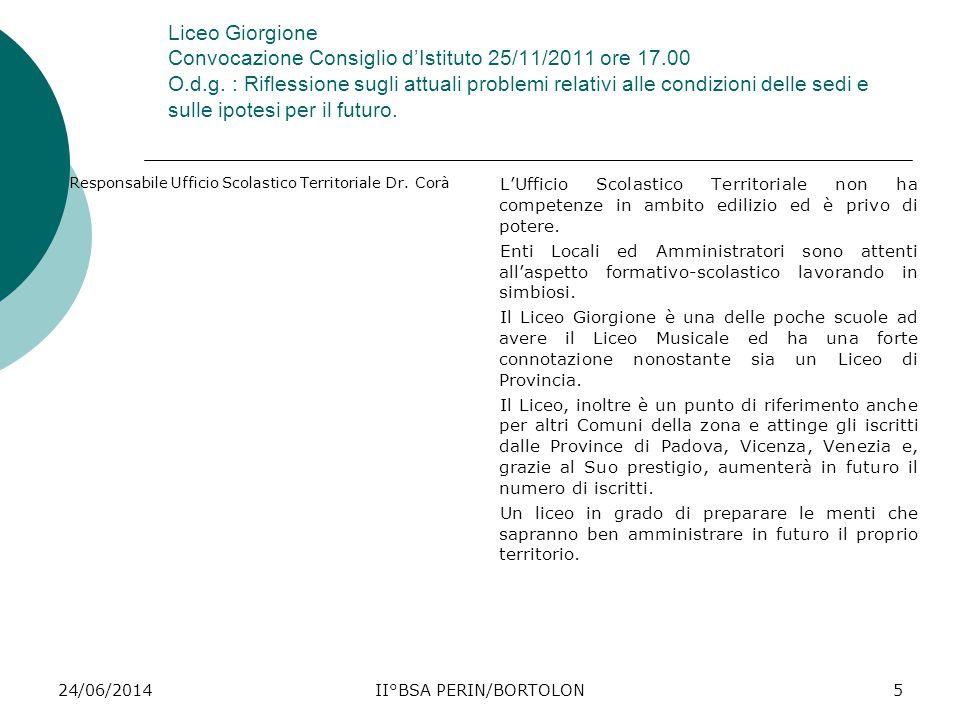 24/06/2014II°BSA PERIN/BORTOLON5 Liceo Giorgione Convocazione Consiglio d'Istituto 25/11/2011 ore 17.00 O.d.g. : Riflessione sugli attuali problemi re