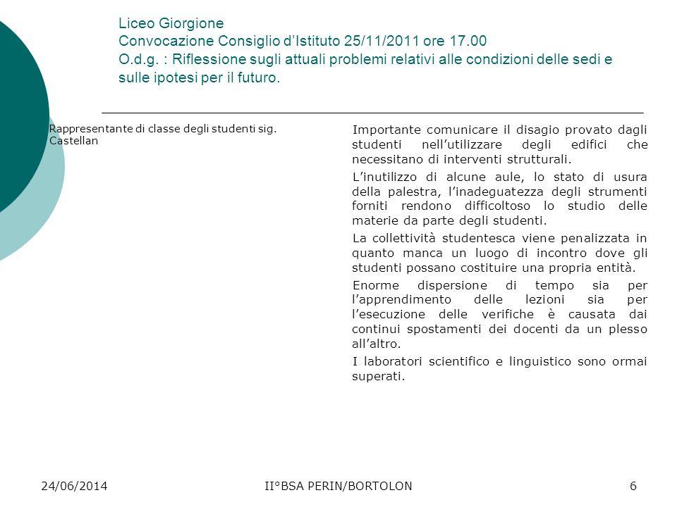 24/06/2014II°BSA PERIN/BORTOLON6 Liceo Giorgione Convocazione Consiglio d'Istituto 25/11/2011 ore 17.00 O.d.g. : Riflessione sugli attuali problemi re