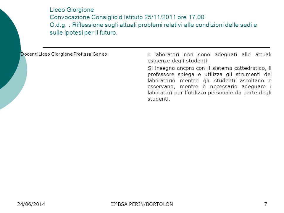 24/06/2014II°BSA PERIN/BORTOLON7 Liceo Giorgione Convocazione Consiglio d'Istituto 25/11/2011 ore 17.00 O.d.g. : Riflessione sugli attuali problemi re