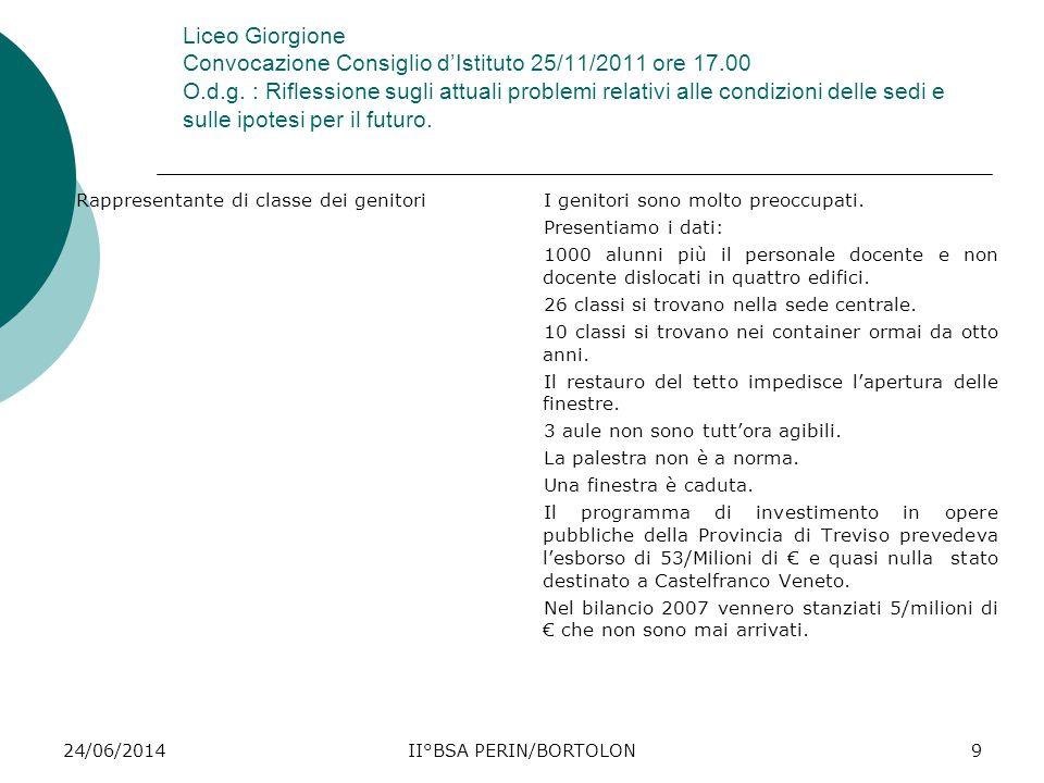 24/06/2014II°BSA PERIN/BORTOLON9 Liceo Giorgione Convocazione Consiglio d'Istituto 25/11/2011 ore 17.00 O.d.g. : Riflessione sugli attuali problemi re