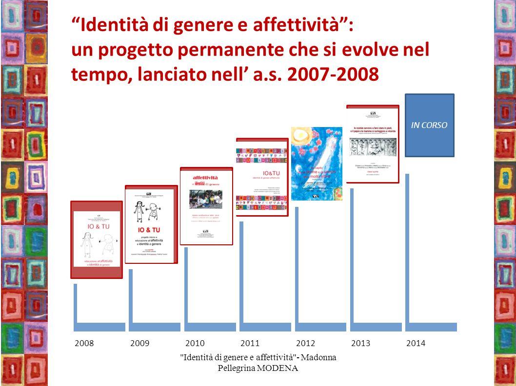 """2008200920102011201220132014 IN CORSO """"Identità di genere e affettività"""": un progetto permanente che si evolve nel tempo, lanciato nell' a.s. 2007-200"""