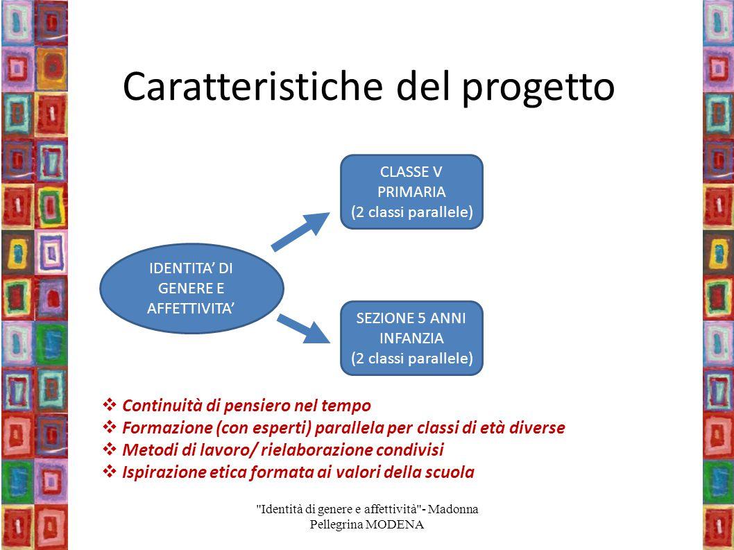 Caratteristiche del progetto IDENTITA' DI GENERE E AFFETTIVITA' CLASSE V PRIMARIA (2 classi parallele) SEZIONE 5 ANNI INFANZIA (2 classi parallele) 