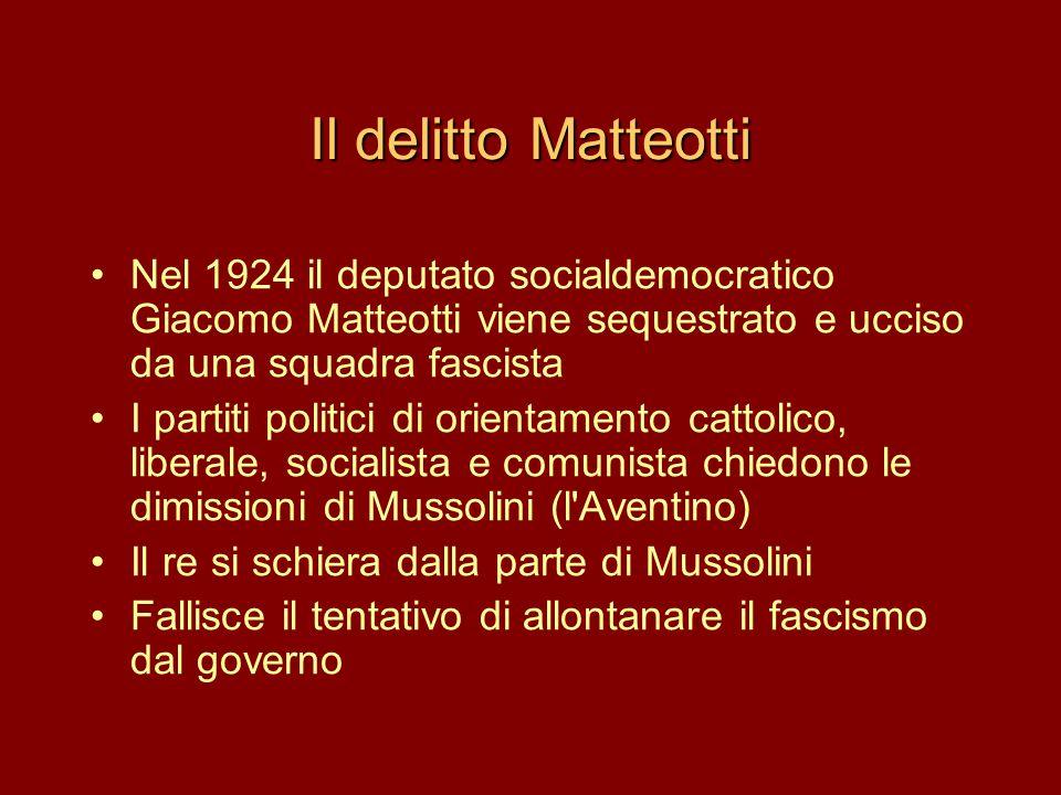 Il delitto Matteotti •Nel 1924 il deputato socialdemocratico Giacomo Matteotti viene sequestrato e ucciso da una squadra fascista •I partiti politici
