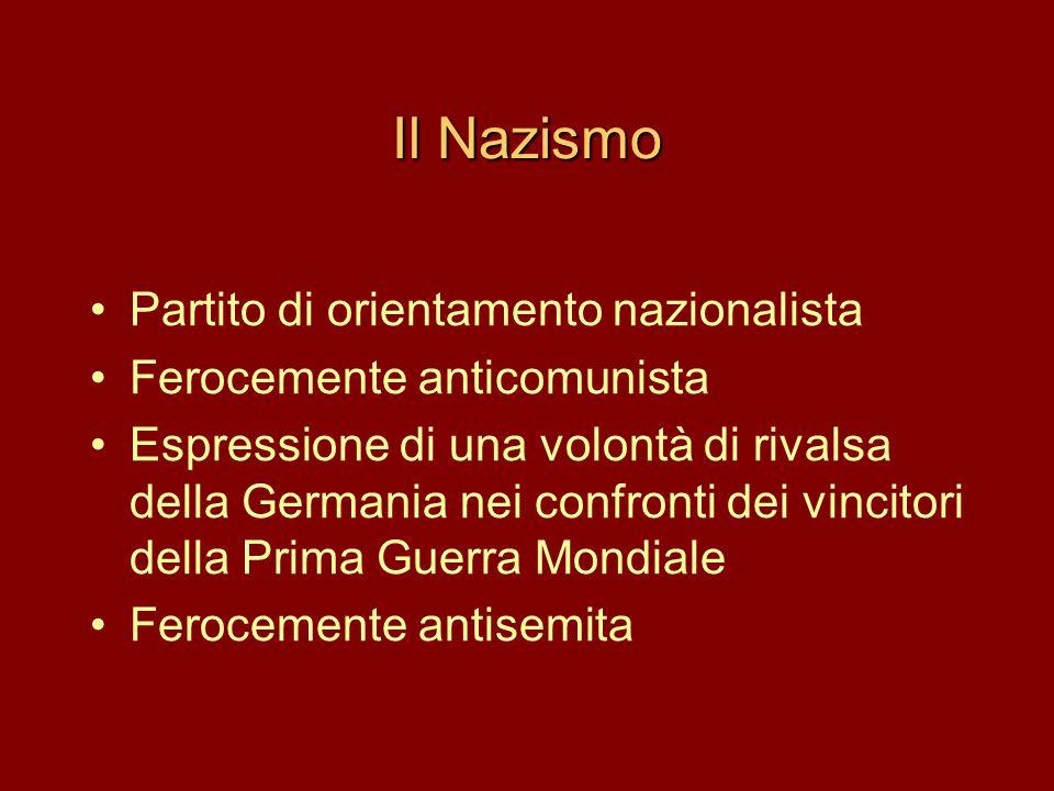 Il Nazismo •Partito di orientamento nazionalista •Ferocemente anticomunista •Espressione di una volontà di rivalsa della Germania nei confronti dei vi