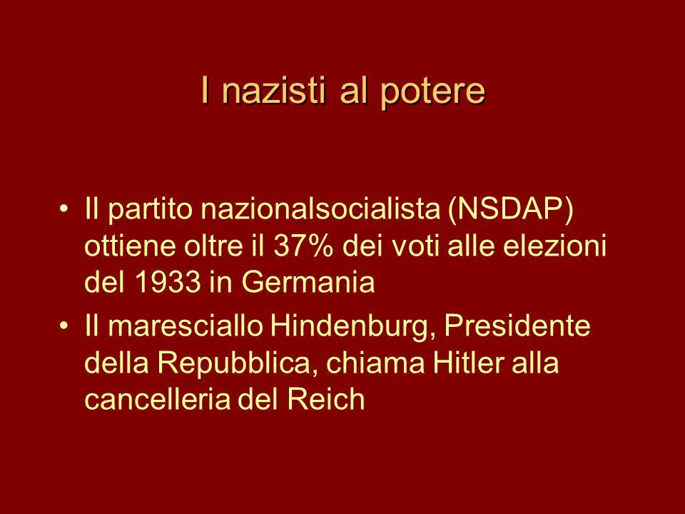 I nazisti al potere •Il partito nazionalsocialista (NSDAP) ottiene oltre il 37% dei voti alle elezioni del 1933 in Germania •Il maresciallo Hindenburg