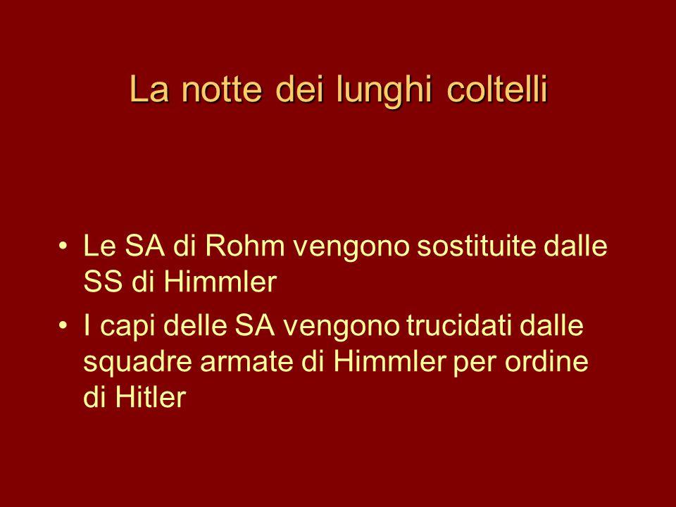 La notte dei lunghi coltelli •Le SA di Rohm vengono sostituite dalle SS di Himmler •I capi delle SA vengono trucidati dalle squadre armate di Himmler