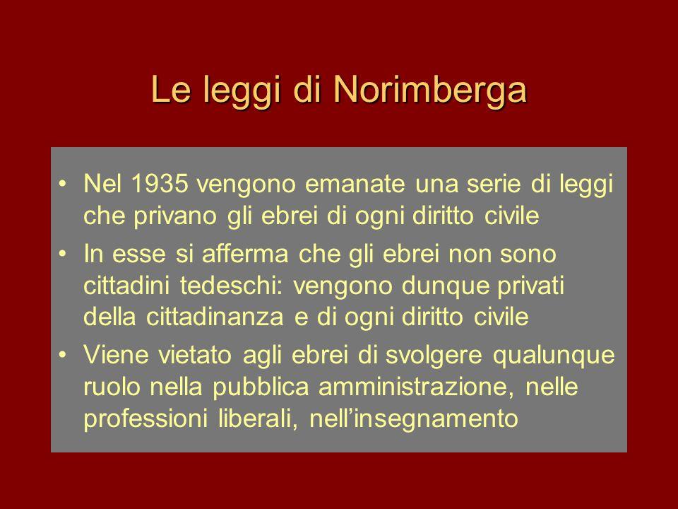 Le leggi di Norimberga •Nel 1935 vengono emanate una serie di leggi che privano gli ebrei di ogni diritto civile •In esse si afferma che gli ebrei non