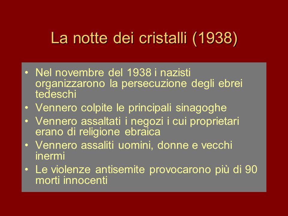 La notte dei cristalli (1938) •Nel novembre del 1938 i nazisti organizzarono la persecuzione degli ebrei tedeschi •Vennero colpite le principali sinag