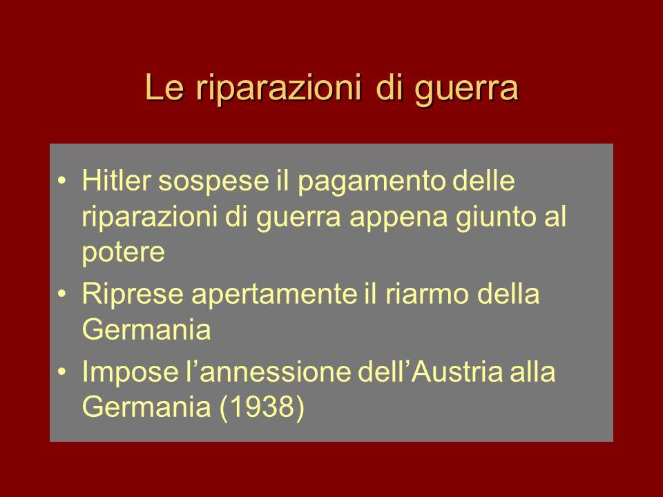 Le riparazioni di guerra •Hitler sospese il pagamento delle riparazioni di guerra appena giunto al potere •Riprese apertamente il riarmo della Germani