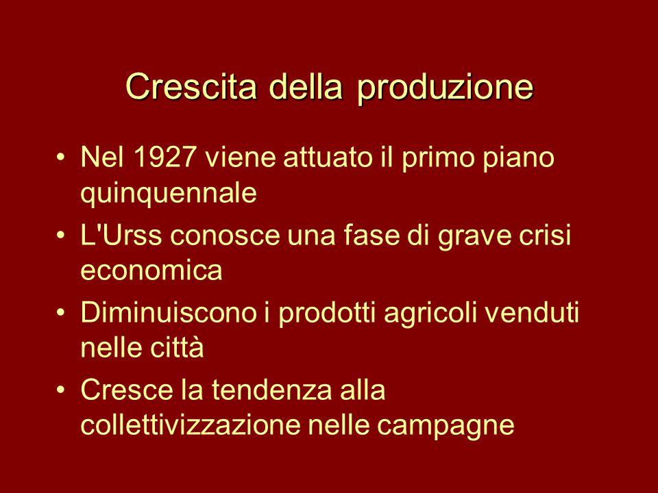 Crescita della produzione •Nel 1927 viene attuato il primo piano quinquennale •L'Urss conosce una fase di grave crisi economica •Diminuiscono i prodot