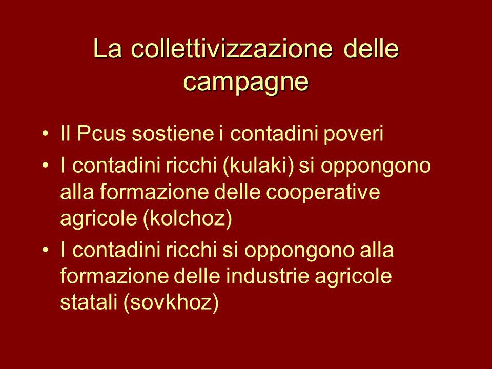 La collettivizzazione delle campagne •Il Pcus sostiene i contadini poveri •I contadini ricchi (kulaki) si oppongono alla formazione delle cooperative