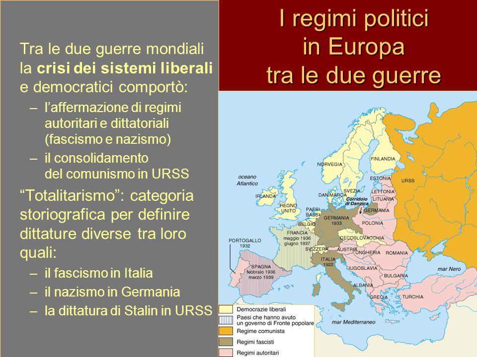 I regimi politici in Europa tra le due guerre Tra le due guerre mondiali la crisi dei sistemi liberali e democratici comportò: –l'affermazione di regi