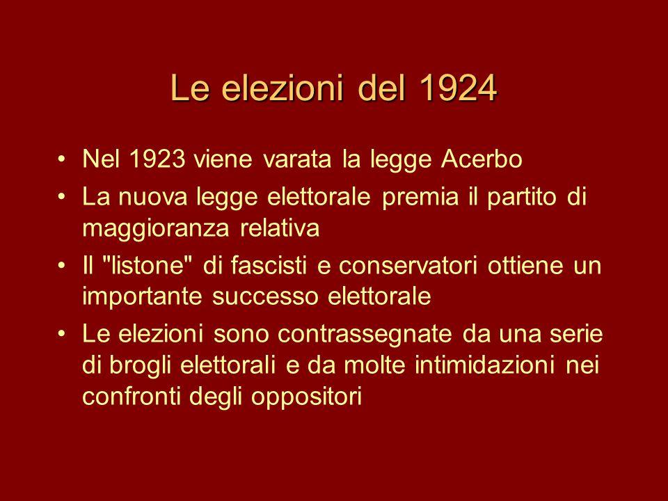 Le elezioni del 1924 •Nel 1923 viene varata la legge Acerbo •La nuova legge elettorale premia il partito di maggioranza relativa •Il