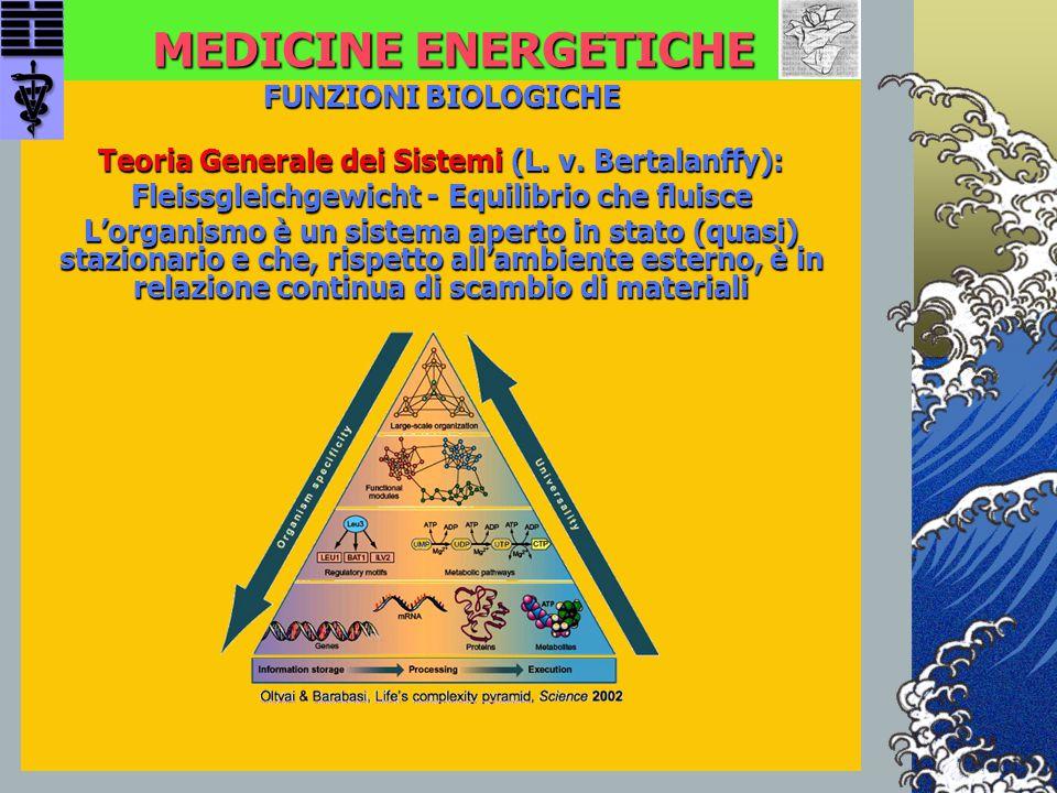 MEDICINE ENERGETICHE FUNZIONI BIOLOGICHE Teoria Generale dei Sistemi (L. v. Bertalanffy): Fleissgleichgewicht - Equilibrio che fluisce L'organismo è u
