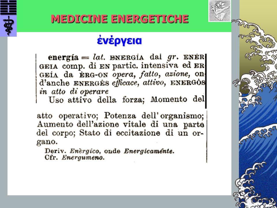 MEDICINE ENERGETICHE MALATTIA: MALATTIA: Disturbo dell'intero soggetto Coinvolge Corpo e Mente GUARIGIONE: Risposta Coordinata dell'Organismo alle Influenze Stressanti