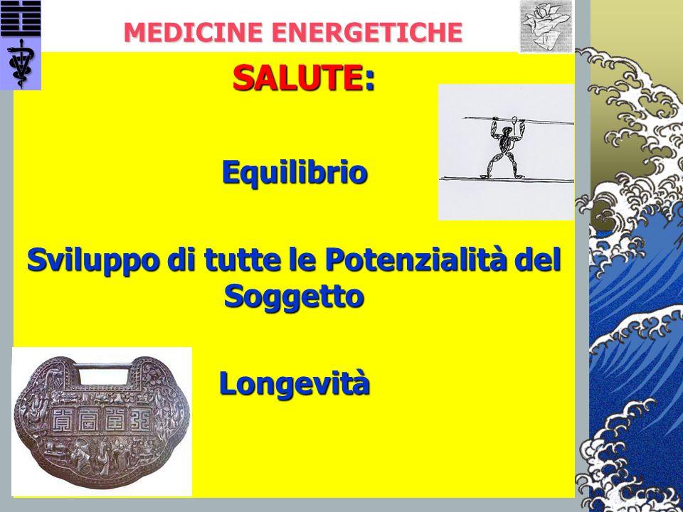 MEDICINE ENERGETICHE SALUTE: SALUTE:Equilibrio Sviluppo di tutte le Potenzialità del Soggetto Longevità