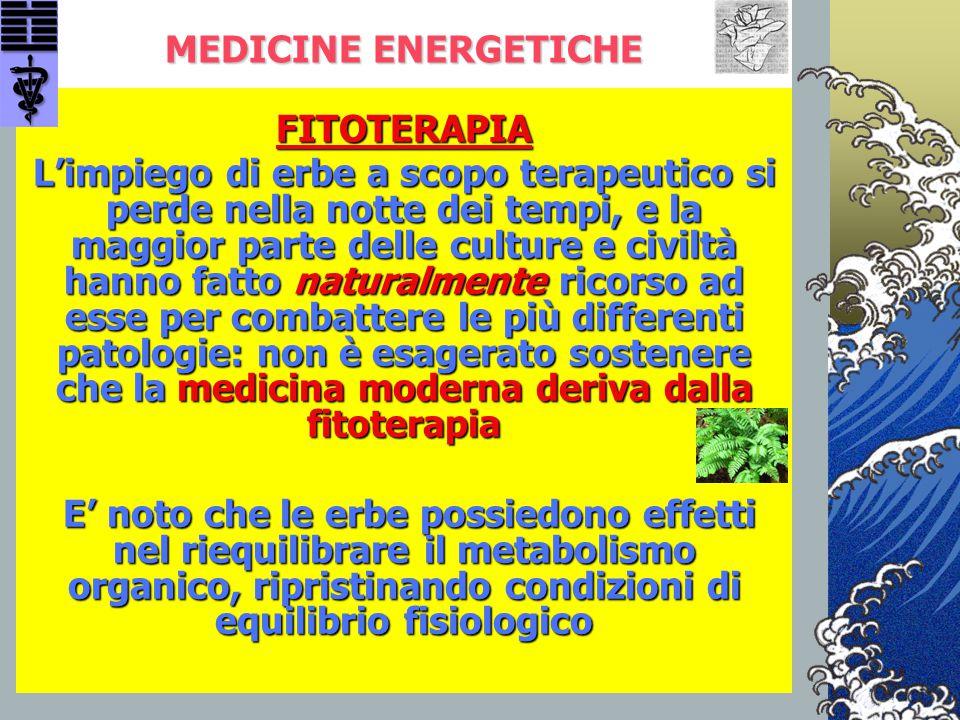 MEDICINE ENERGETICHE FITOTERAPIA L'impiego di erbe a scopo terapeutico si perde nella notte dei tempi, e la maggior parte delle culture e civiltà hann