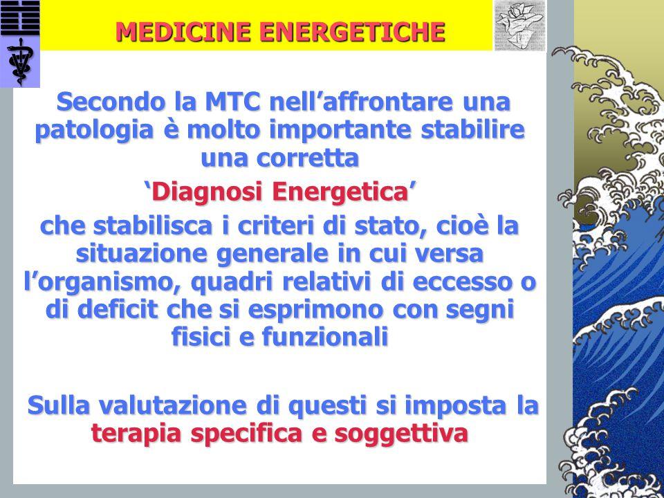 MEDICINE ENERGETICHE Secondo la MTC nell'affrontare una patologia è molto importante stabilire una corretta Secondo la MTC nell'affrontare una patolog