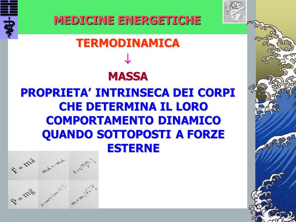 MEDICINE ENERGETICHE TERMODINAMICAMASSA PROPRIETA' INTRINSECA DEI CORPI CHE DETERMINA IL LORO COMPORTAMENTO DINAMICO QUANDO SOTTOPOSTI A FORZE ESTERN
