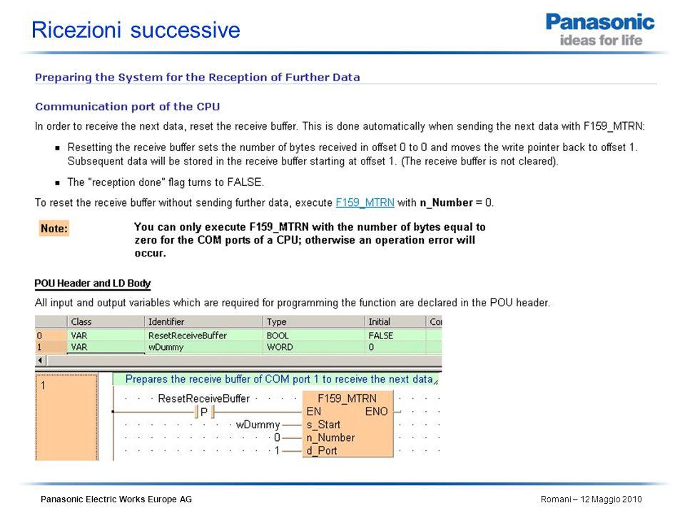 Panasonic Electric Works Europe AG Romani – 12 Maggio 2010 Ricezioni successive