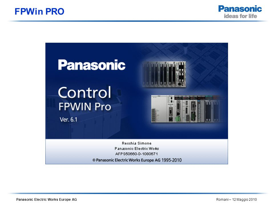 Panasonic Electric Works Europe AG Romani – 12 Maggio 2010 FPWin PRO