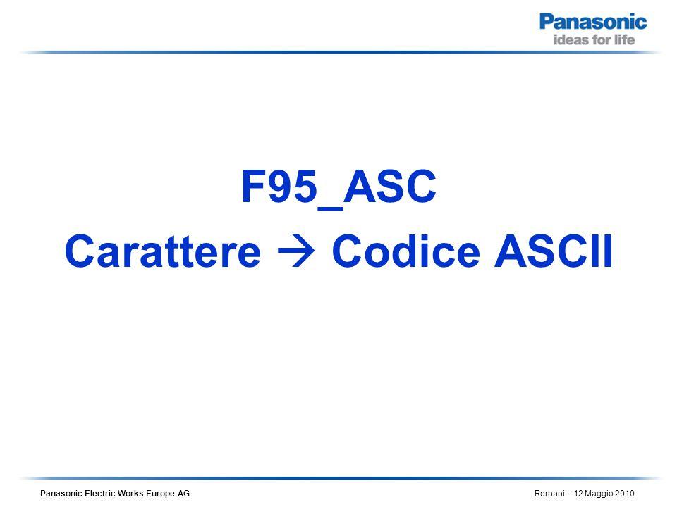 Panasonic Electric Works Europe AG Romani – 12 Maggio 2010 F95_ASC Carattere  Codice ASCII