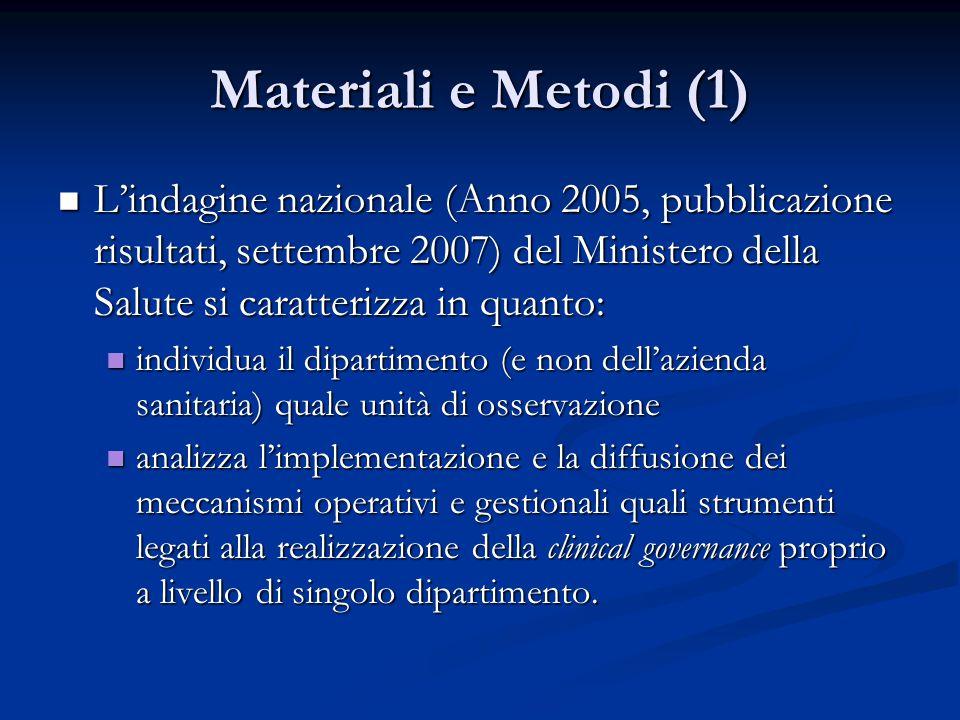 Materiali e Metodi (1)  L'indagine nazionale (Anno 2005, pubblicazione risultati, settembre 2007) del Ministero della Salute si caratterizza in quant
