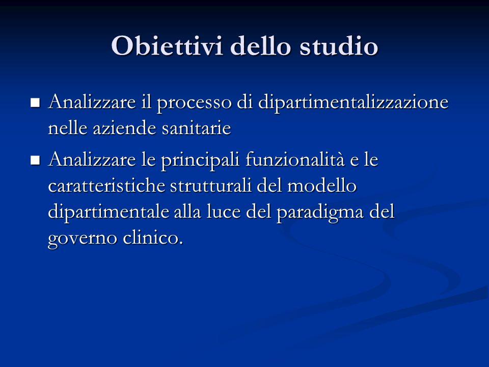 Obiettivi dello studio  Analizzare il processo di dipartimentalizzazione nelle aziende sanitarie  Analizzare le principali funzionalità e le caratte
