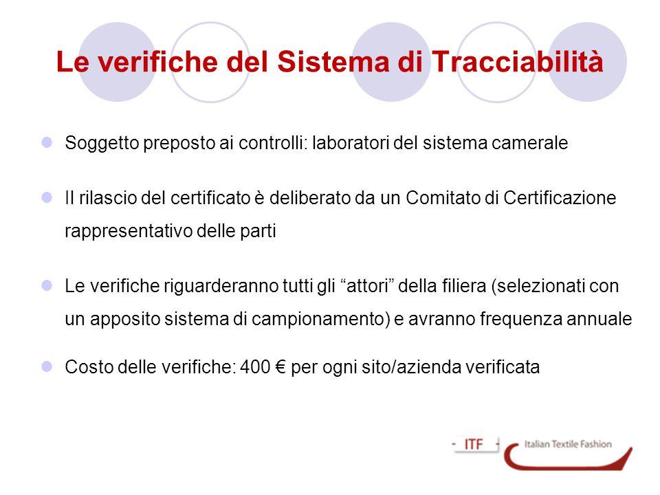 Le verifiche del Sistema di Tracciabilità  Soggetto preposto ai controlli: laboratori del sistema camerale  Il rilascio del certificato è deliberato