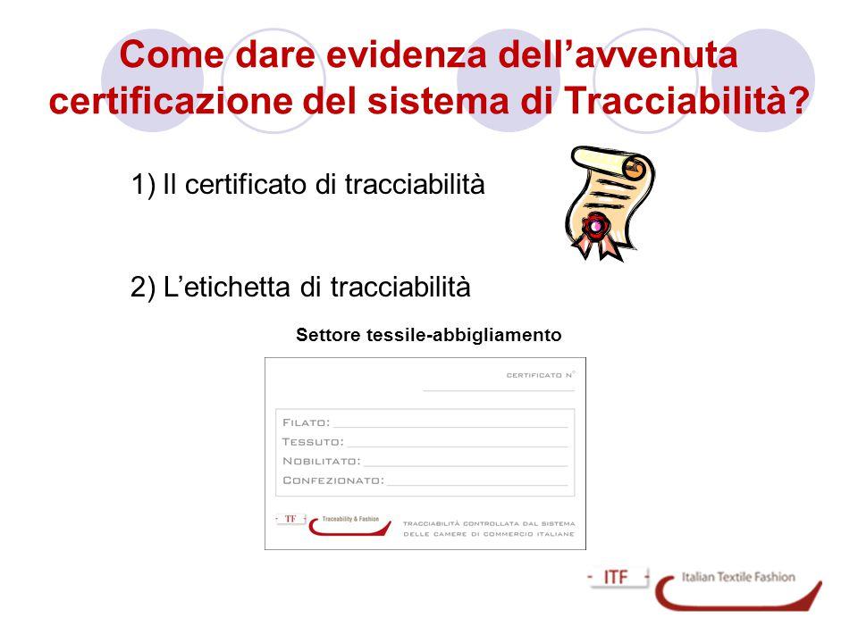 Come dare evidenza dell'avvenuta certificazione del sistema di Tracciabilità? Settore tessile-abbigliamento 1)Il certificato di tracciabilità 2) L'eti
